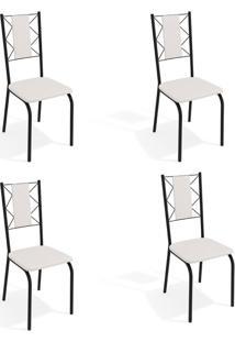 Conjunto Com 4 Cadeiras De Cozinha Lisboa Preto E Branco