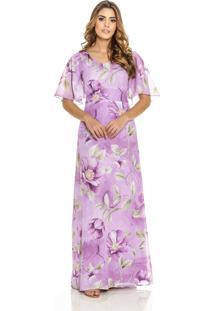 6e78713703e1 Dafiti. Vestido Floral Longo Grande Roxo Conforto Angélica Amaral Maria