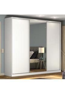 Guarda-Roupa Casal 3 Portas Correr 1 Espelho 100% Mdf Rc3002 Branco - Nova Mobile