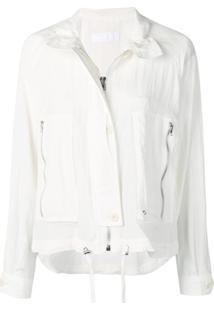 Helmut Lang Trench Coat Curto Com Zíper - Branco
