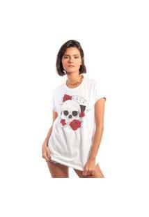 Camiseta Feminina Mirat Copas Skull Branca