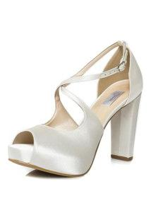 Sandália Noiva Salto Alto Confortável - 86096 Off White