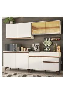 Cozinha Completa Madesa Reims 240001 Com Armário E Balcáo - Branco Branco