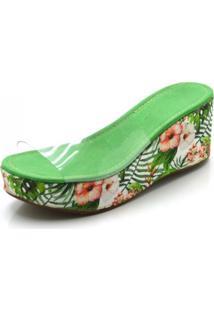 Sandália Tamanco Dududias10 Com Transparência E Floral Azaléia Verde