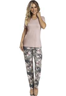 Pijama Recco De Viscose E Microfibra Rosa