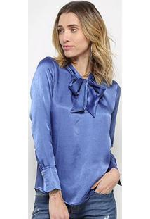Blusa Top Moda Acetinada Laço Feminina - Feminino-Azul