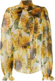 Dolce & Gabbana Sunflower-Print Blouse - Branco
