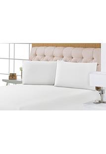 Porta Travesseiro Sofisticatta Percal 180 Fios Branco | Pano Bordado