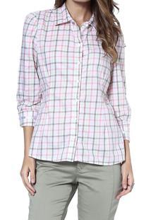 Camisa Energia Fashion Mg 3/4 Xadrez Rosa