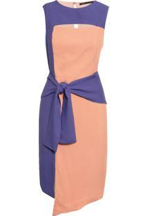 Vestido Curto Assimétrico Bicolor - Bege
