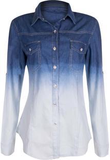 Camisa Manga Longa Outletdri Camisão Detalhe Degradê Azul Com Branco