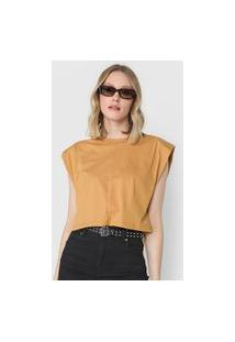 Camiseta Cropped Colcci Muscle Tee Bege