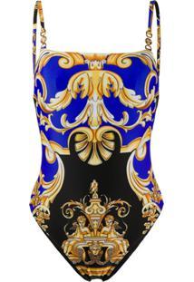 Versace Maiô Com Estampa Barroca - Azul