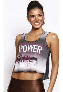 "Blusa Cropped ""Power Girl""- Cinza Escuro & Pinkphysical Fitness"