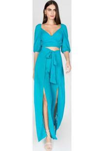 Calça Pantalona Pareô Azul Azul