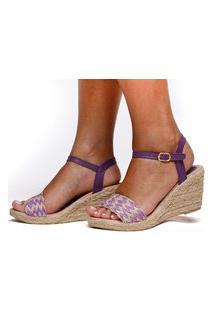 Sandália Anabela Plataforma Sb Shoes Ref.1227 Roxa