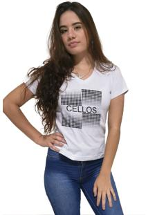 Camiseta Feminina Gola V Cellos Degradê Premium Branco