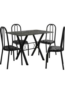 Conjunto De Mesa Miami 4 Cadeiras Preto Fosco/Preto Floral Fabone Móveis Tubulares