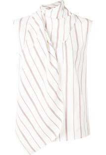 Joseph Wrap Style Striped Blouse - Branco