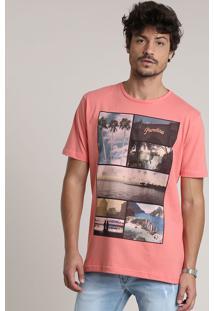 """Camiseta Masculina """"Paradise"""" Manga Curta Gola Careca Coral"""