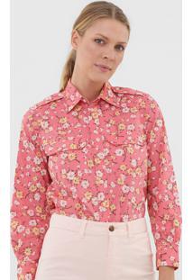 Camisa Polo Ralph Lauren Floral Rosa