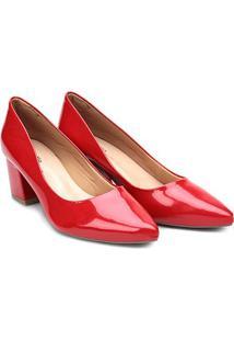 Scarpin Griffe Salto Médio Bico Fino - Feminino-Vermelho