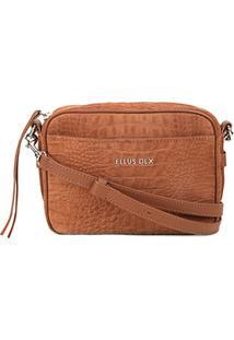 Bolsa Couro Ellus Mini Bag Croco Feminina - Feminino-Marrom