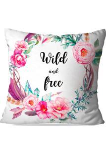 Capa De Almofada Avulsa Decorativa Wild And Free 45X45Cm