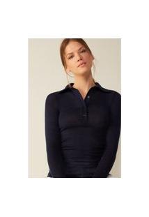 Blusa Estilo Polo Em Lã E Seda - Azul P