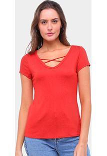 Camiseta Lecimar Tiras Feminina - Feminino-Vermelho