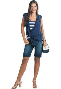 Blusa Marcia Mello Cavada Com Drapeado Sobreposto Azul