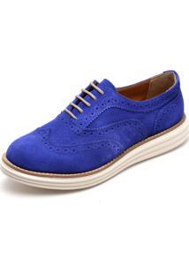Sapato Social Feminino Top Franca Shoes Oxford Camurça Azul Bic