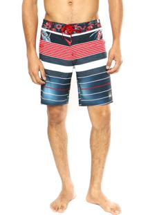 Bermuda Água Quiksilver Remix Stripe Navy Blazer Multicolorida