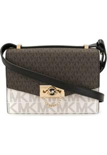 Michael Michael Kors Extra Small Hendrix Two-Tone Logo Crossbody Bag - Marrom