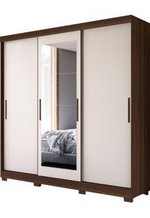 Guarda Roupa Auris C/ Espelho 3 Portas De Correr Flex Cedro/Off White Albatroz