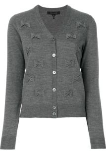 Marc Jacobs Cardigan Cinza Com Bordado