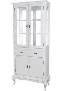 Cristaleira 4 Portas, 1 Gav E Fundo C/ Espelho (Pés Luiz Xv) Ref 60313E - Cor Branco Provençal