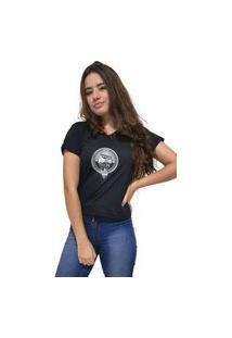 Camiseta Feminina Gola V Cellos Boom Box Premium Preto