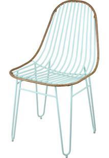 Cadeira Invisi Trama Couro Natural Caramelo Com Base Menta - 48804 Sun House