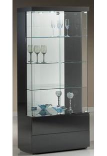 Cristaleira Square Laca Preta Brilho 90 Cm - 32401 - Sun House