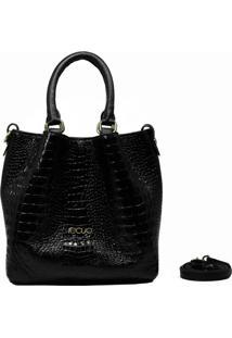 Bolsa Em Couro Recuo Fashion Bag Baú Croco Preto/Fosco