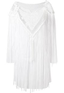 Amir Slama Vestido Com Franjas - Branco