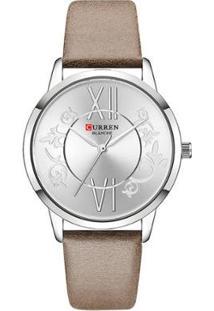 Relógio Curren Analógico C9049L Feminino - Feminino-Prata+Marrom