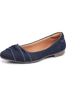 Sapatilha Em Tecido Jeans Tranã§Ado Bico Fino Feminina Confort - Azul/Jeans - Feminino - Dafiti