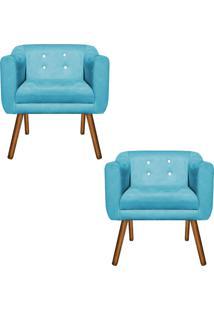 Kit 02 Poltronas Decorativa Julia Suede Azul Tiffany Com Strass - D'Rossi