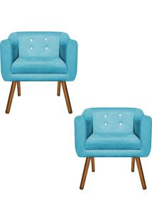 Kit 02 Poltronas Decorativa Julia Suede Azul Turquesa Com Strass - D'Rossi. - Azul - Dafiti