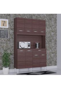 Cozinha Compacta 8 Portas 1 Gaveta Kit Cássia 6171 Capuccino - Poquema