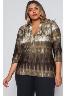 Blusa Almaria Plus Size Pianeta Tie Dye Verde