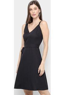 Vestido Mercatto Liso Amarração - Feminino-Preto