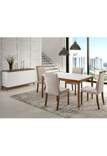 Sala De Jantar 1,35M Com Buffet 3 Portas Joy - Laca Branco/Castanho
